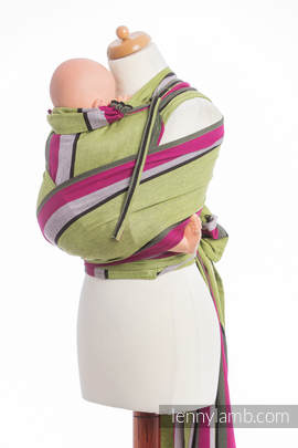 WRAP-TAI carrier TODDLER, broken-twill weave - 100% cotton - with hood, LIME KHAKI