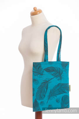Shopping bag made of wrap fabric (100% cotton) - FEATHERS TURQUOISE & BLACK Reverse