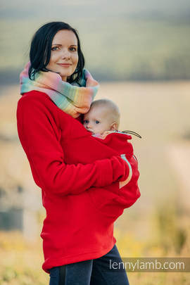 Fleece Babywearing Sweatshirt - size S - red with Little Herringbone Imagination