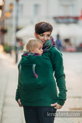Fleece Babywearing Sweatshirt - size S - dark green with Little Herringbone Impression Dark