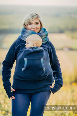 Fleece Babywearing Sweatshirt - size S - navy blue with Little Herringbone Illusion