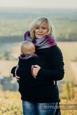 Fleece Babywearing Sweatshirt - size S - black with Little Herringbone Inspiration