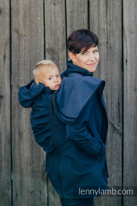 Babywearing Coat - Softshell - Navy Blue- XXL