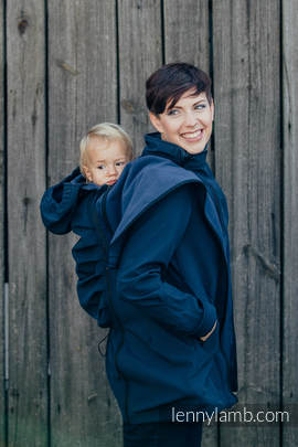 Babywearing Coat - Softshell - Navy Blue- S