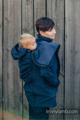 Babywearing Coat - Softshell - Navy Blue- L