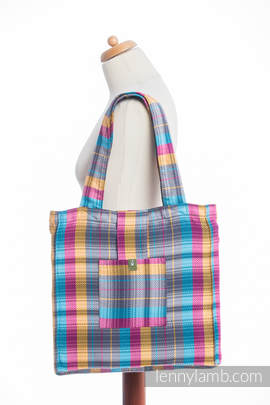 Shoulder bag made of wrap fabric (100% cotton) - LITTLE HERRINGBONE CITYLIGHTS - standard size 37cmx37cm