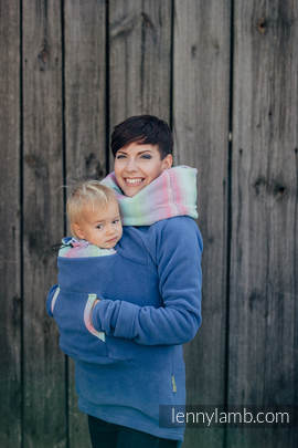 Fleece Babywearing Sweatshirt - size S - blue with Little Herringbone Impression