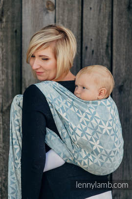 Baby Wrap, Jacquard Weave (60% cotton, 28% merino wool, 8% silk, 4% cashmere) - HEXA FLOWERS BLUE  - size XS (grade B)