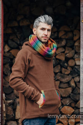 Fleece Sweatshirt - size M - brown with Little Herringbone Imagination Dark