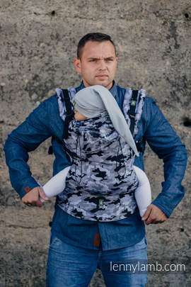 Ergonomic Carrier, Baby Size, jacquard weave 100% cotton - wrap conversion from GREY CAMO - Second Generation