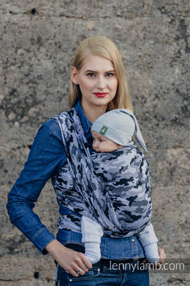 Baby Wrap, Jacquard Weave (100% cotton) - GREY CAMO- size S