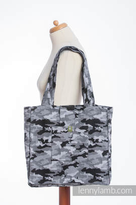 Shoulder bag made of wrap fabric (100% cotton) - GREY CAMO - standard size 37cmx37cm