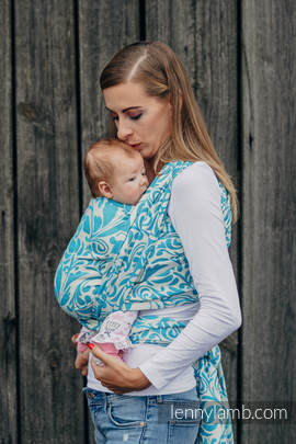 Baby Wrap, Jacquard Weave (100% cotton) - TWISTED LEAVES CREAM & TURQUOISE - size L