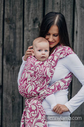 Baby Wrap, Jacquard Weave (100% cotton) - TWISTED LEAVES CREAM & PURPLE - size S (grade B)