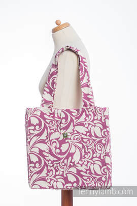 Shoulder bag made of wrap fabric (100% cotton) - TWISTED LEAVES CREAM & PURPLE - standard size 37cmx37cm