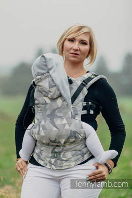 Ergonomic Carrier, Baby Size, jacquard weave 80% cotton 14% linen 6% tussah silk - wrap conversion from SWALLOWS GREY, Second Generation