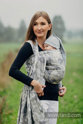 Baby Wrap, Jacquard Weave (80% cotton 14% linen 6% tussah silk) - SWALLOWS GREY - size L (grade B)