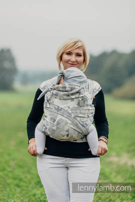 WRAP-TAI carrier Mini with hood/ jacquard twill / 80% cotton 14% linen 6% tussah silk / SWALLOWS GREY
