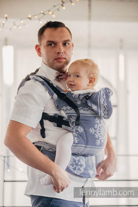 Ergonomic Carrier, Toddler Size, jacquard weave 80% cotton, 20% merino wool - wrap conversion from WARM HEARTS NAVY BLUE & WHITE, Second Generation