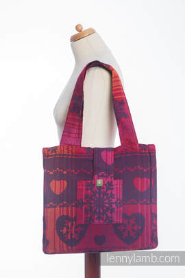 Shoulder bag made of wrap fabric (100% cotton) - WARM HEARTS WITH CINNAMON  - standard size 37cmx37cm