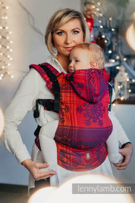 Ergonomic Carrier, Baby Size, jacquard weave 100% cotton - WARM HEARTS WITH CINNAMON - Second Generation