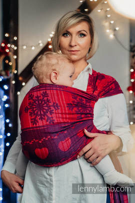 Baby Wrap, Jacquard Weave (100% cotton) - WARM HEARTS WITH CINNAMON  - size S