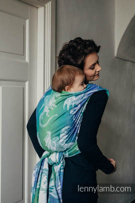 Baby Wrap, Jacquard Weave (100% cotton) - DRAGON GREEN & BLUE - size L