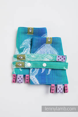 Drool Pads & Reach Straps Set, (100% cotton) - DRAGON GREEN & BLUE