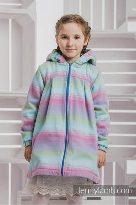 Girls Coat - size 128 - LITTLE HERRINGBONE IMPRESSION with Blue