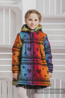 Girls Coat - size 128 - RAINBOW LACE DARK with Black