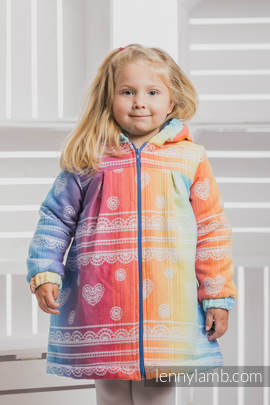 Girls Coat - size 104 - RAINBOW LACE with Blue
