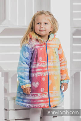 Girls Coat - size 122 - RAINBOW LACE with Blue