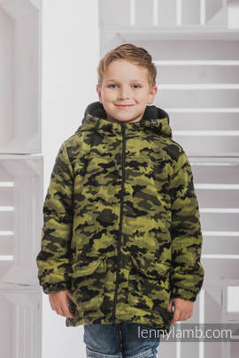 Boys Coat - size 128 - GREEN CAMO with Black