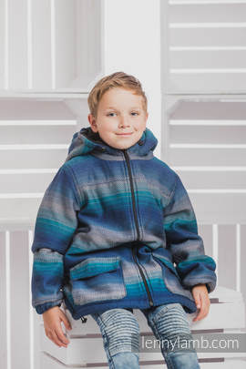 Boys Coat - size 134 - LITTLE HERRINGBONE ILLUSION with Black