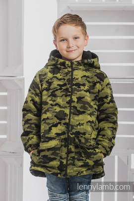 Boys Coat - size 134 - GREEN CAMO with Black