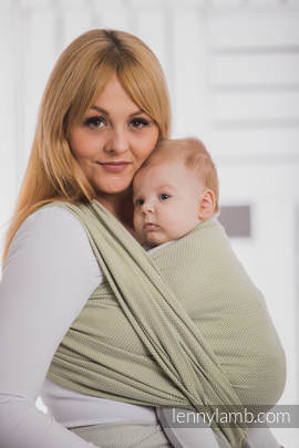 Baby Wrap, Herringbone Weave (100% cotton) - LITTLE HERRINGBONE OLIVE GREEN - size M (grade B)