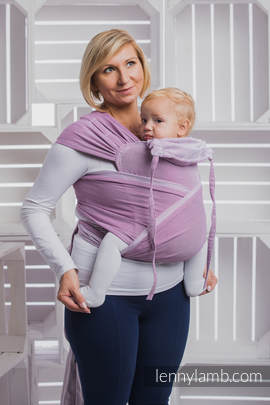 WRAP-TAI carrier Mini with hood/ herringbone twill / 100% cotton / LITTLE HERRINGBONE PURPLE