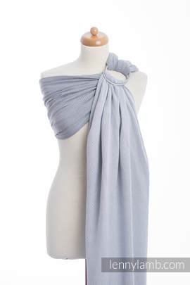 Ringsling, Herringbone Weave (100% cotton) - with gathered shoulder - LITTLE HERRINGBONE GREY