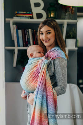 Ringsling, Jacquard Weave (100% cotton) - with gathered shoulder - BIG LOVE - RAINBOW (grade B)