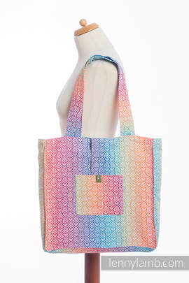 Shoulder bag made of wrap fabric (100% cotton) - BIG LOVE - RAINBOW - standard size 37cmx37cm