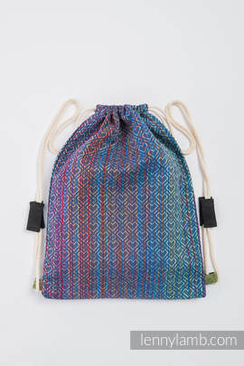 Sackpack made of wrap fabric (100% cotton) - BIG LOVE - SAPPHIRE - standard size 35cmx45cm