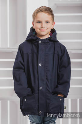 Parka Coat for Kids - size 128 - Navy Blue & Diamond Plaid