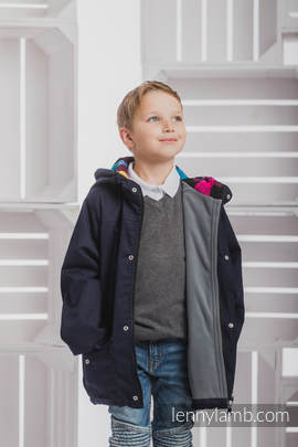 Parka Coat for Kids - size 134 - Navy Blue & Diamond Plaid