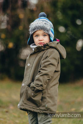 Parka Coat for Kids - size 122 - Khaki & Diamond Plaid