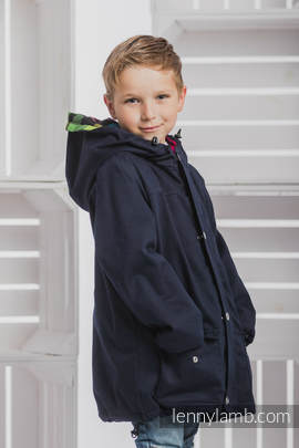 Parka Coat for Kids - size 116 - Navy Blue & Diamond Plaid