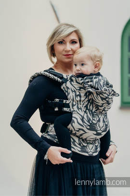 Ergonomic Carrier, Baby Size, jacquard weave 100% cotton - wrap conversion TIGER BLACK & BEIGE 2.0 - Second Generation