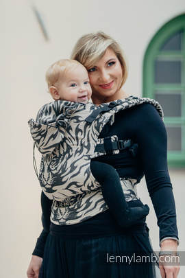 Ergonomic Carrier, Toddler Size, jacquard weave 100% cotton - wrap conversion TIGER BLACK & BEIGE 2.0 - Second Generation