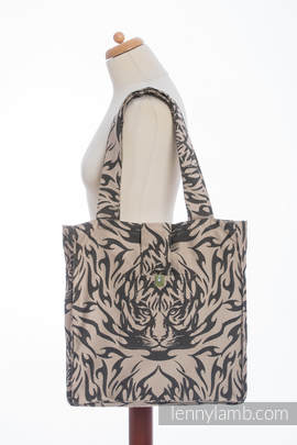 Shoulder bag made of wrap fabric (100% cotton) - TIGER BLACK & BEIGE 2.0 - standard size 37cmx37cm (grade B)