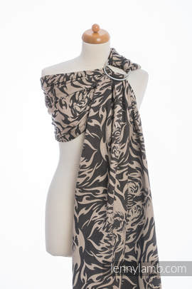Ringsling, Jacquard Weave (100% cotton), with gathered shoulder - TIGER BLACK & BEIGE 2.0 (grade B)
