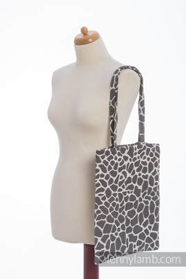 Shopping bag made of wrap fabric (100% cotton) - GIRAFFE DARK BROWN & CREME (grade B)